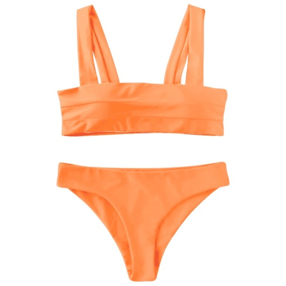 6c89c4070e5 Zaful Swim | Padded Wide Straps Bandeau Bikini Set Neon Orange ...